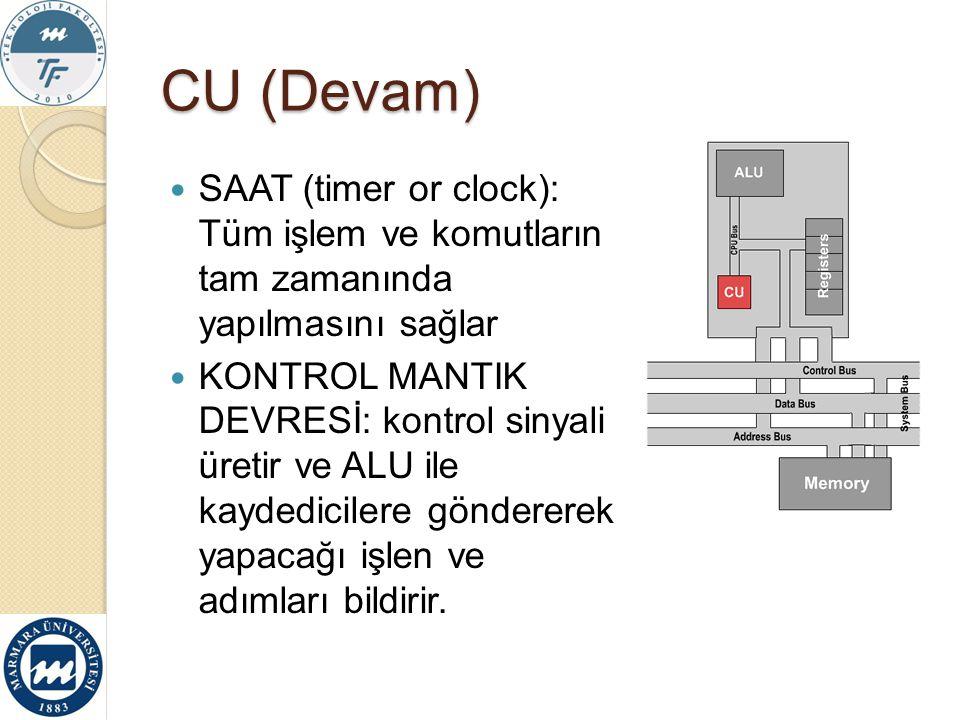 CU (Devam) SAAT (timer or clock): Tüm işlem ve komutların tam zamanında yapılmasını sağlar KONTROL MANTIK DEVRESİ: kontrol sinyali üretir ve ALU ile k