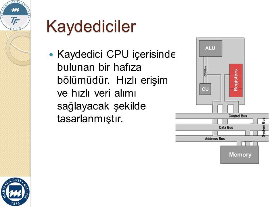 Kaydediciler Kaydedici CPU içerisinde bulunan bir hafıza bölümüdür. Hızlı erişim ve hızlı veri alımı sağlayacak şekilde tasarlanmıştır.
