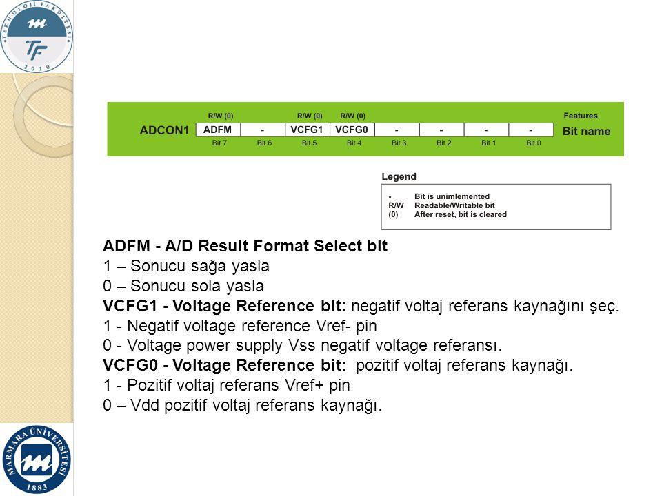 ADFM - A/D Result Format Select bit 1 – Sonucu sağa yasla 0 – Sonucu sola yasla VCFG1 - Voltage Reference bit: negatif voltaj referans kaynağını şeç.