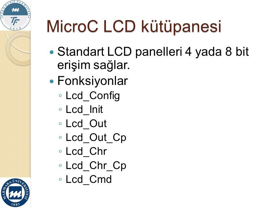 MicroC LCD kütüpanesi Standart LCD panelleri 4 yada 8 bit erişim sağlar. Fonksiyonlar ◦ Lcd_Config ◦ Lcd_Init ◦ Lcd_Out ◦ Lcd_Out_Cp ◦ Lcd_Chr ◦ Lcd_C