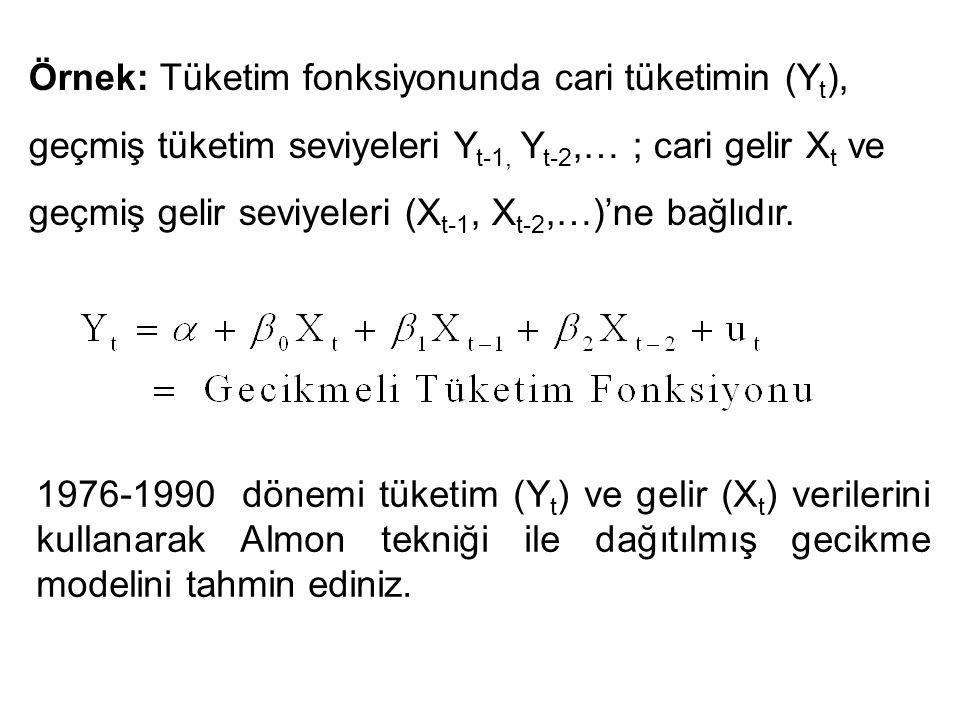 Örnek: Tüketim fonksiyonunda cari tüketimin (Y t ), geçmiş tüketim seviyeleri Y t-1, Y t-2,… ; cari gelir X t ve geçmiş gelir seviyeleri (X t-1, X t-2