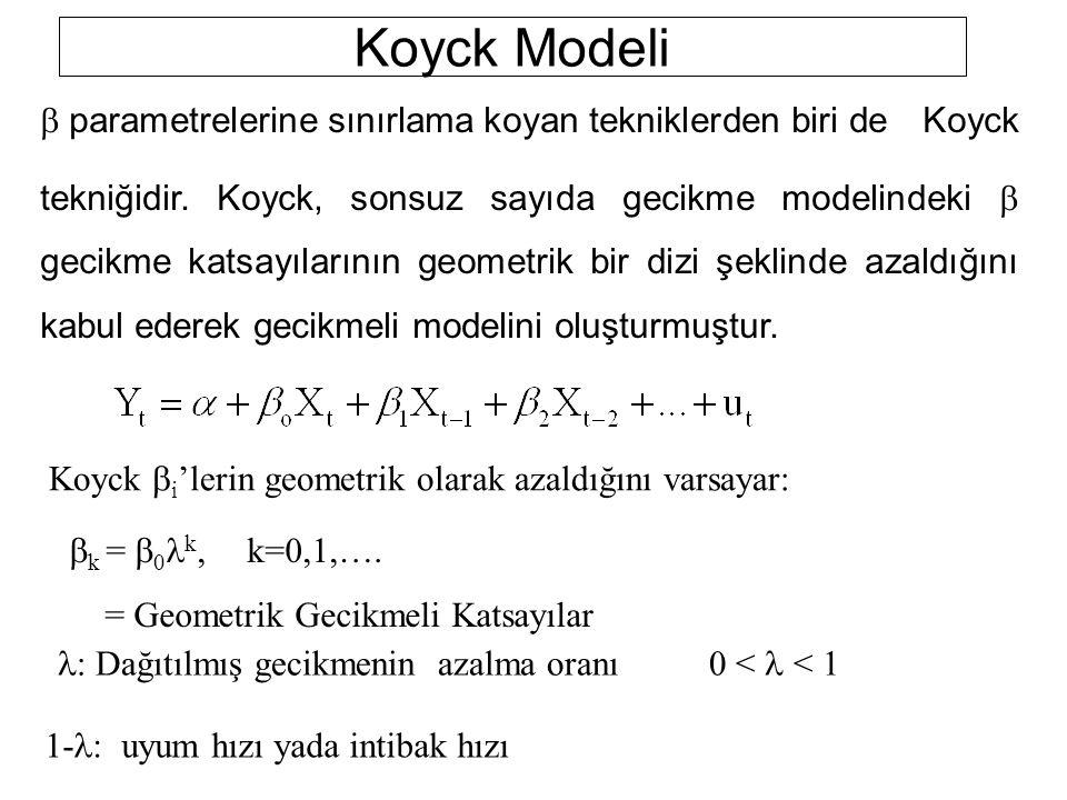 Koyck Modeli Koyck  i 'lerin geometrik olarak azaldığını varsayar:  k =  0 k,k=0,1,…. = Geometrik Gecikmeli Katsayılar  Dağıtılmış gecikmenin aza