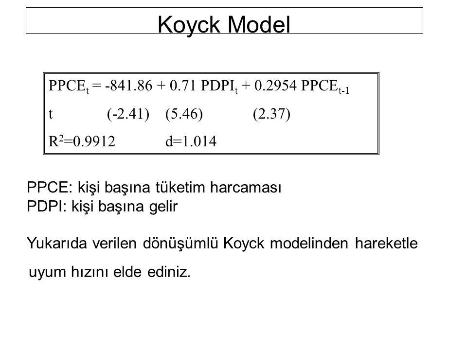 PPCE t = -841.86 + 0.71 PDPI t + 0.2954 PPCE t-1 t(-2.41)(5.46)(2.37) R 2 =0.9912d=1.014 PPCE: kişi başına tüketim harcaması PDPI: kişi başına gelir Y