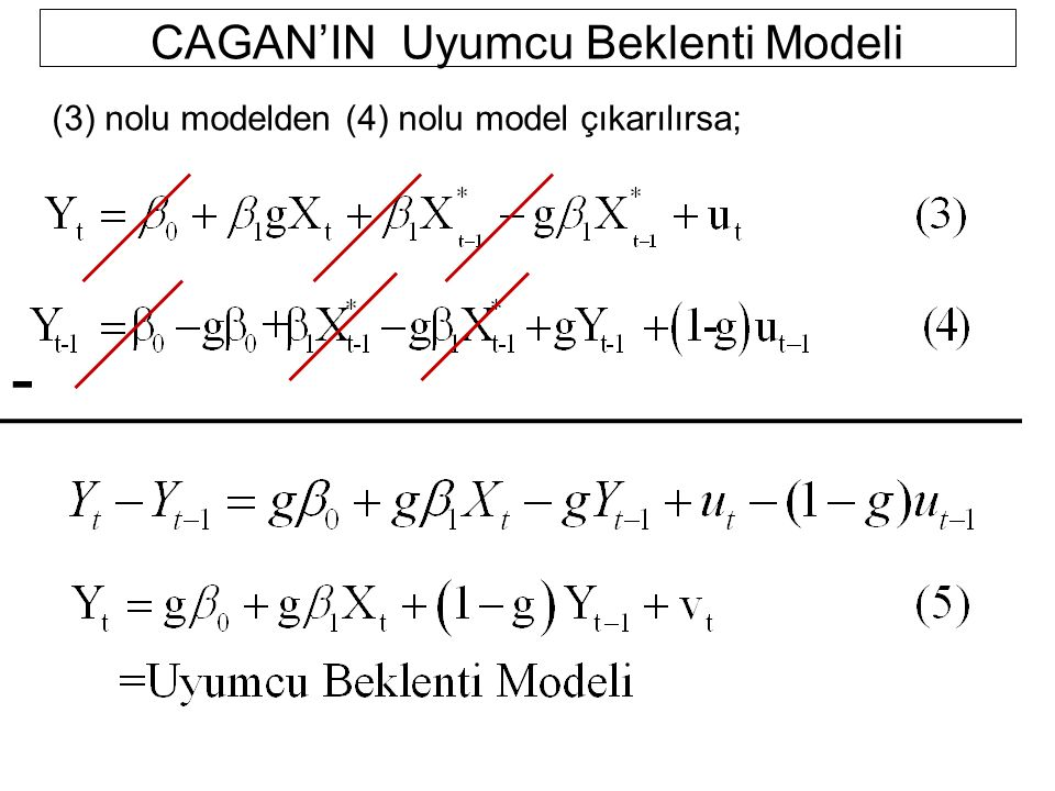 CAGAN'IN Uyumcu Beklenti Modeli (3) nolu modelden (4) nolu model çıkarılırsa; -