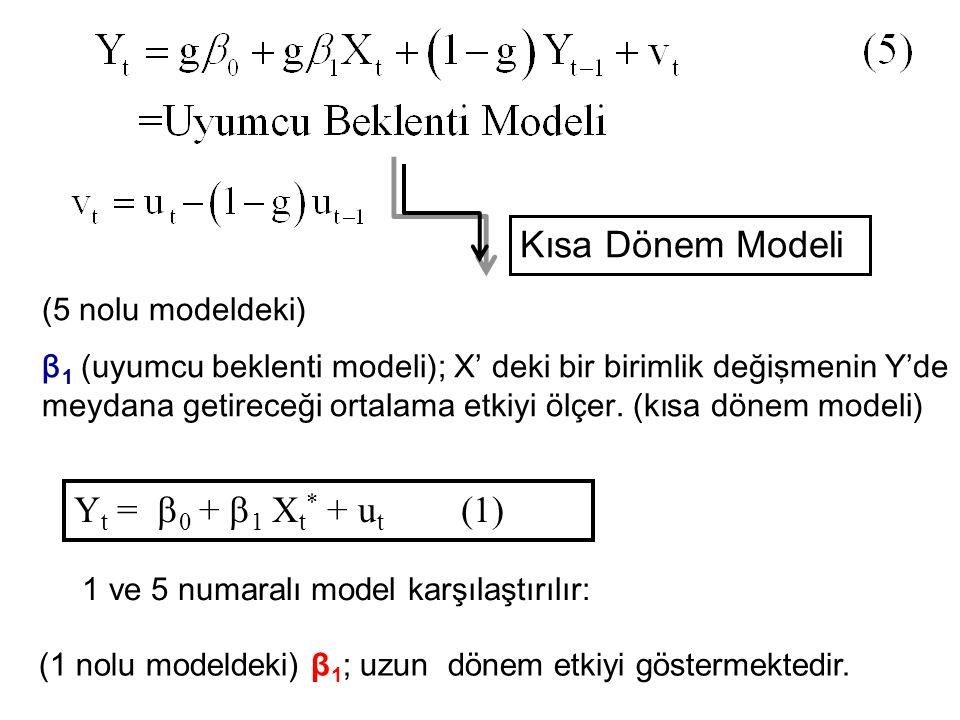 Kısa Dönem Modeli ( 5 nolu modeldeki) β 1 (uyumcu beklenti modeli) ; X' deki bir birimlik değişmenin Y'de meydana getireceği ortalama etkiyi ölçer. (k
