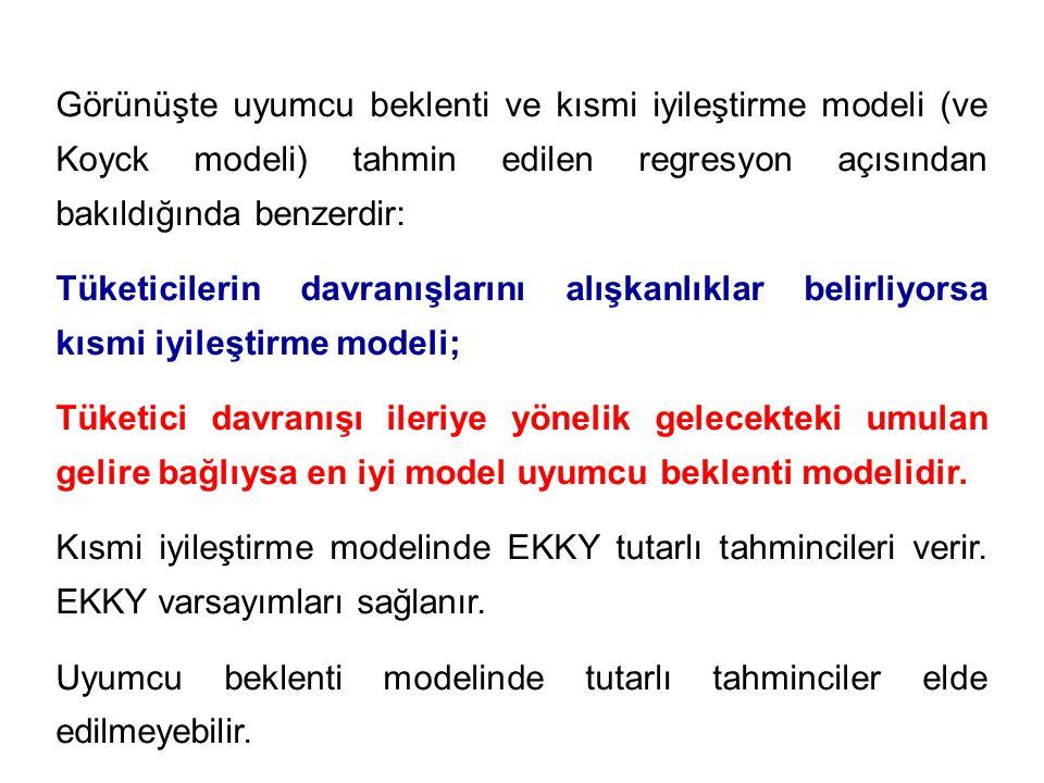 Görünüşte uyumcu beklenti ve kısmi iyileştirme modeli (ve Koyck modeli) tahmin edilen regresyon açısından bakıldığında benzerdir: Tüketicilerin davran