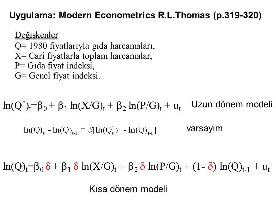 Değişkenler Q= 1980 fiyatlarıyla gıda harcamaları, X= Cari fiyatlarla toplam harcamalar, P= Gıda fiyat indeksi, G= Genel fiyat indeksi. ln(Q * ) t = 