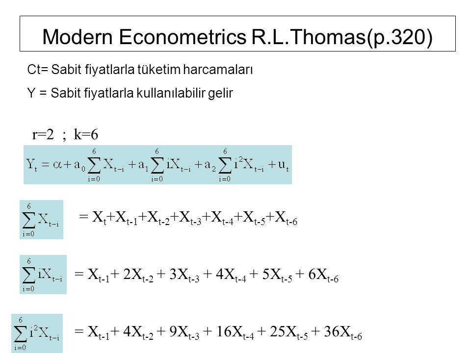 Modern Econometrics R.L.Thomas(p.320) r=2 ; k=6 = X t +X t-1 +X t-2 +X t-3 +X t-4 +X t-5 +X t-6 = X t-1 + 2X t-2 + 3X t-3 + 4X t-4 + 5X t-5 + 6X t-6 =
