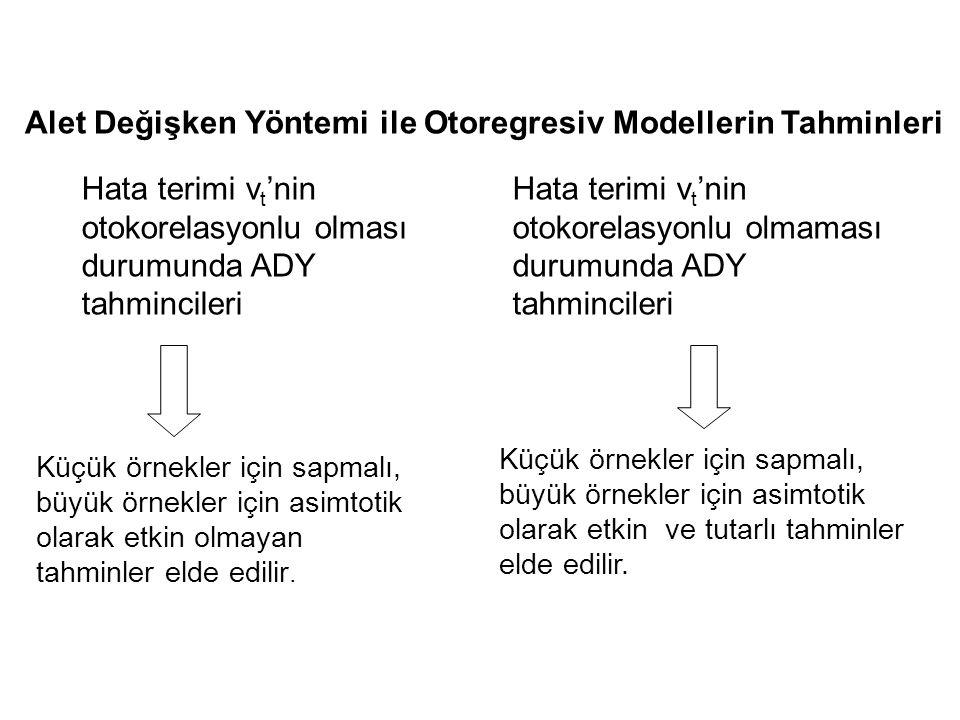 Alet Değişken Yöntemi ile Otoregresiv Modellerin Tahminleri Hata terimi v t 'nin otokorelasyonlu olması durumunda ADY tahmincileri Hata terimi v t 'ni