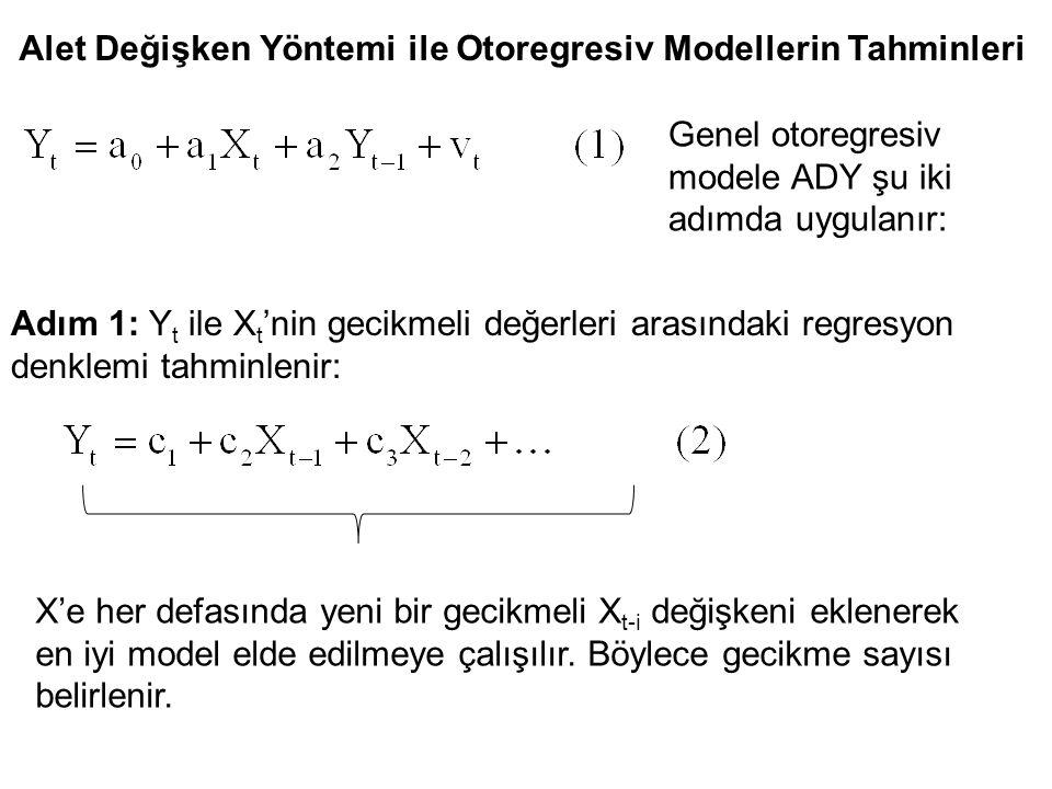 Alet Değişken Yöntemi ile Otoregresiv Modellerin Tahminleri Genel otoregresiv modele ADY şu iki adımda uygulanır: Adım 1: Y t ile X t 'nin gecikmeli d
