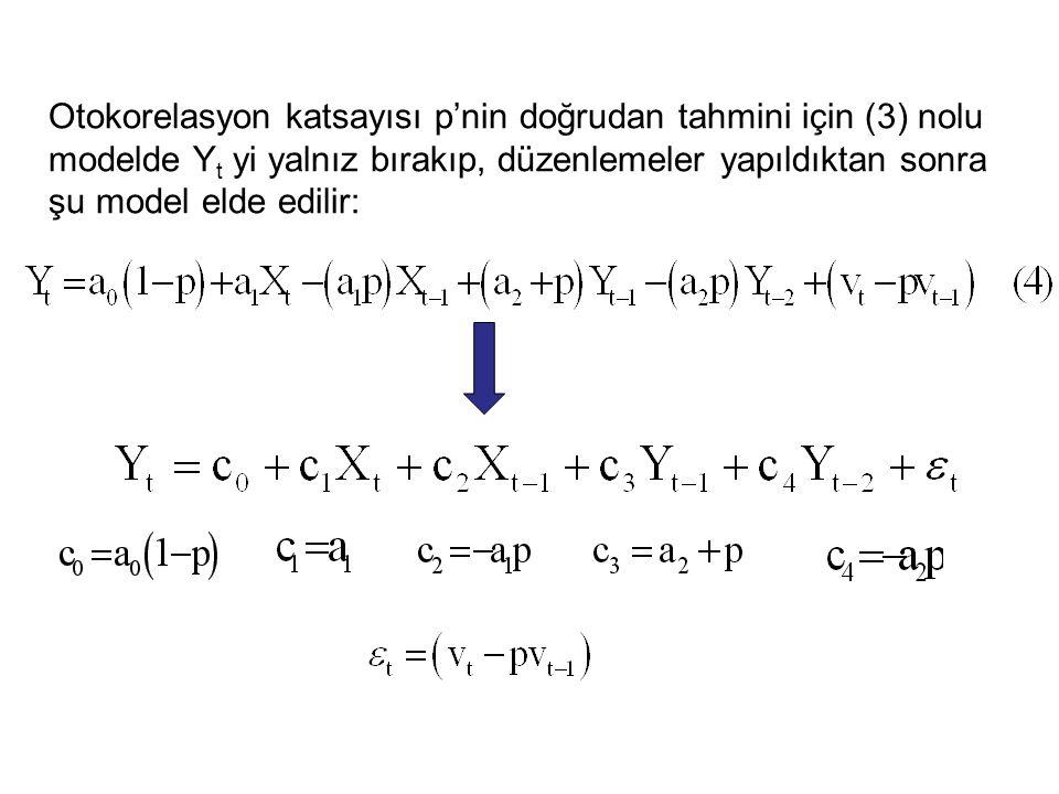 Otokorelasyon katsayısı p'nin doğrudan tahmini için (3) nolu modelde Y t yi yalnız bırakıp, düzenlemeler yapıldıktan sonra şu model elde edilir: