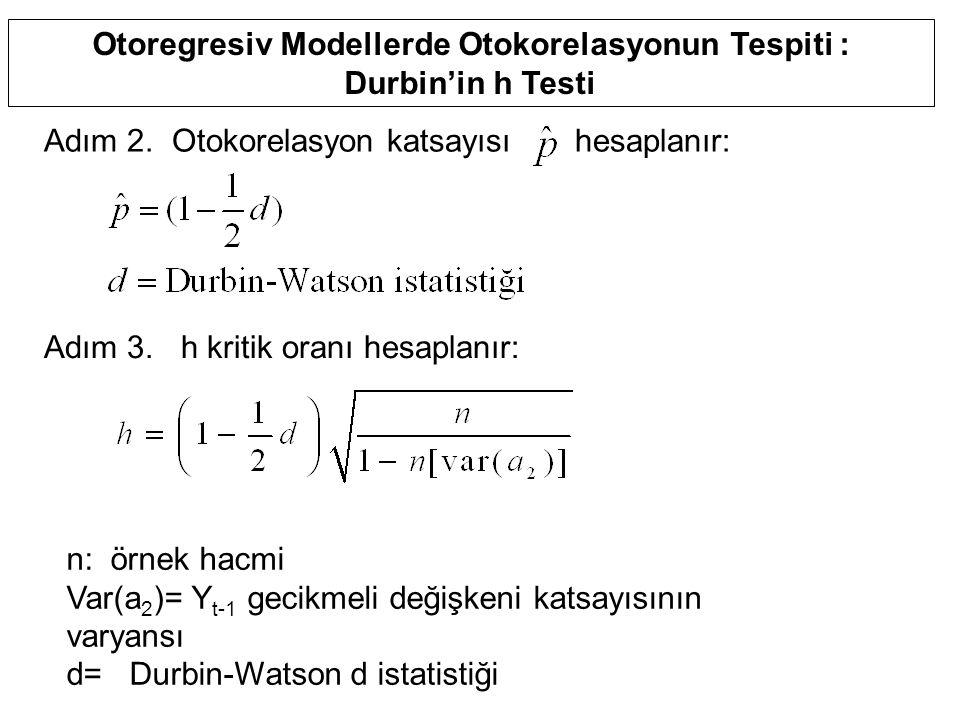 Otoregresiv Modellerde Otokorelasyonun Tespiti : Durbin'in h Testi Adım 2. Otokorelasyon katsayısı hesaplanır: Adım 3. h kritik oranı hesaplanır: n: ö