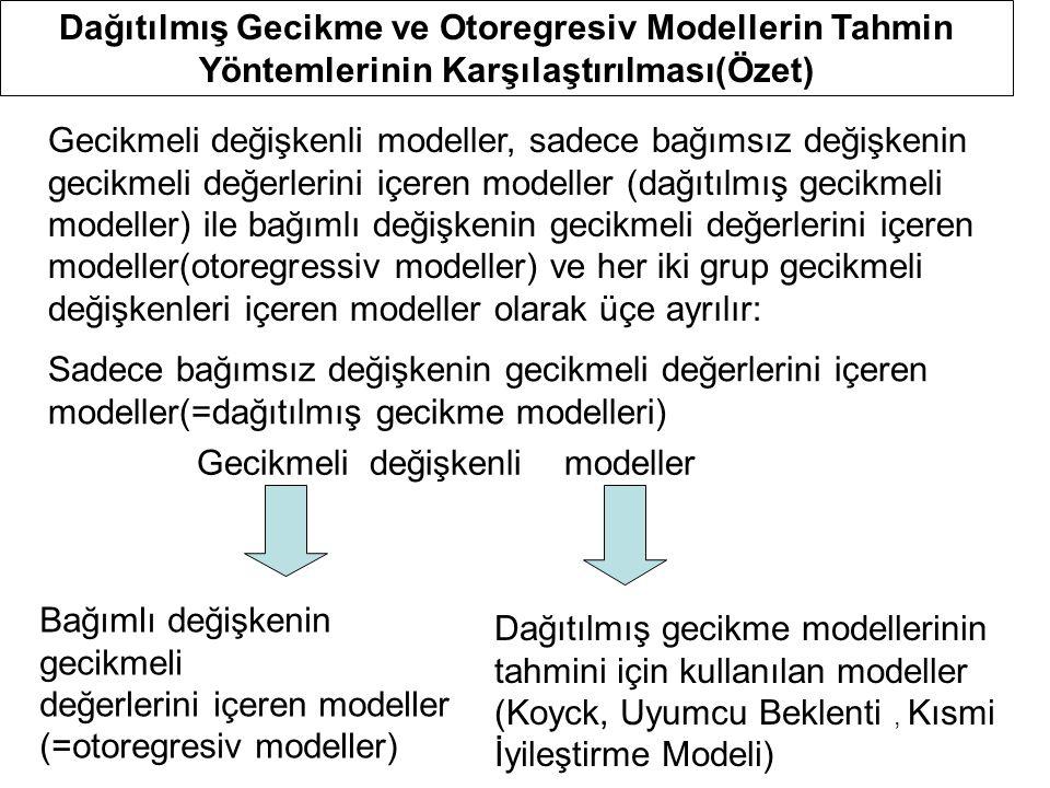 Dağıtılmış Gecikme ve Otoregresiv Modellerin Tahmin Yöntemlerinin Karşılaştırılması(Özet) Gecikmeli değişkenli modeller Sadece bağımsız değişkenin gec