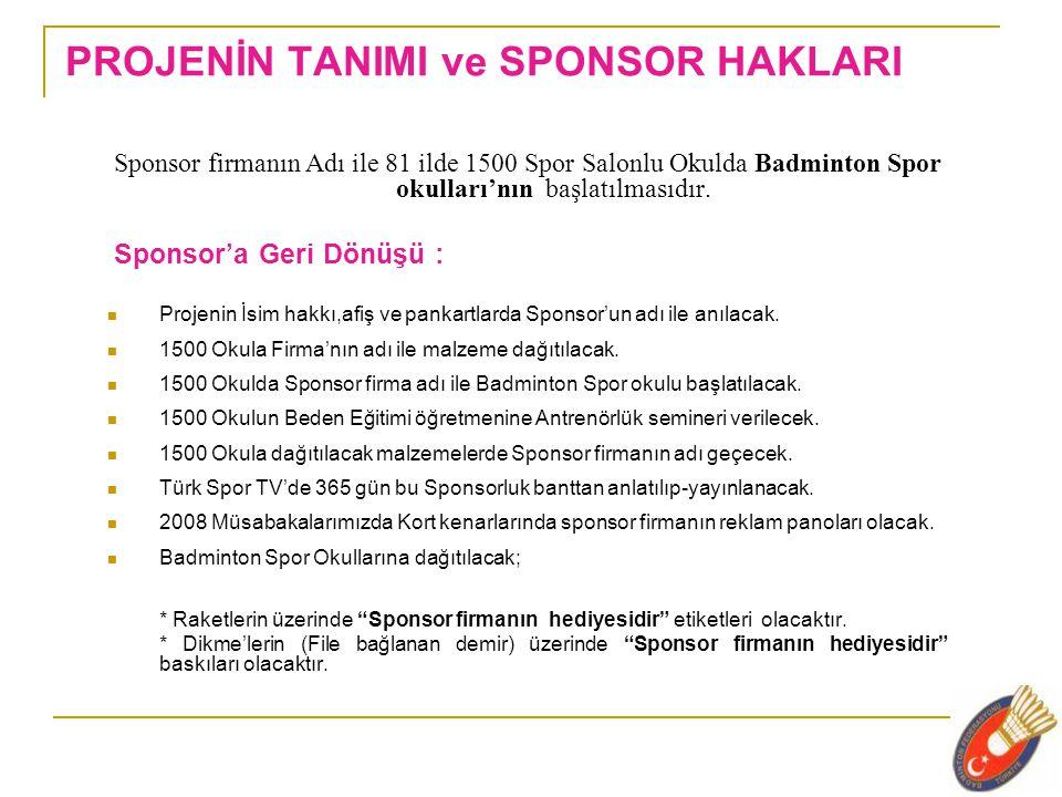 PROJENİN TANIMI ve SPONSOR HAKLARI Sponsor firmanın Adı ile 81 ilde 1500 Spor Salonlu Okulda Badminton Spor okulları'nın başlatılmasıdır.