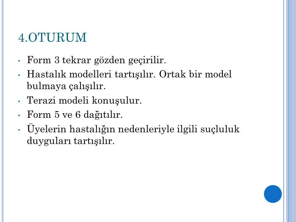 4.OTURUM Form 3 tekrar gözden geçirilir. Hastalık modelleri tartışılır. Ortak bir model bulmaya çalışılır. Terazi modeli konuşulur. Form 5 ve 6 dağıtı