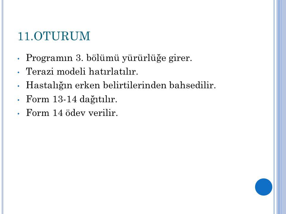 11.OTURUM Programın 3. bölümü yürürlüğe girer. Terazi modeli hatırlatılır. Hastalığın erken belirtilerinden bahsedilir. Form 13-14 dağıtılır. Form 14