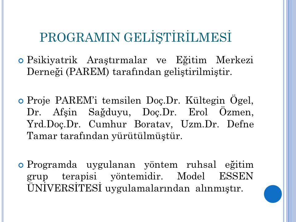 PROGRAMIN GELİŞTİRİLMESİ Psikiyatrik Araştırmalar ve Eğitim Merkezi Derneği (PAREM) tarafından geliştirilmiştir. Proje PAREM'i temsilen Doç.Dr. Külteg