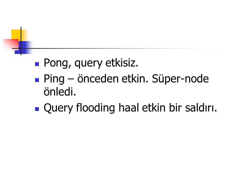 Pong, query etkisiz. Ping – önceden etkin. Süper-node önledi. Query flooding haal etkin bir saldırı.