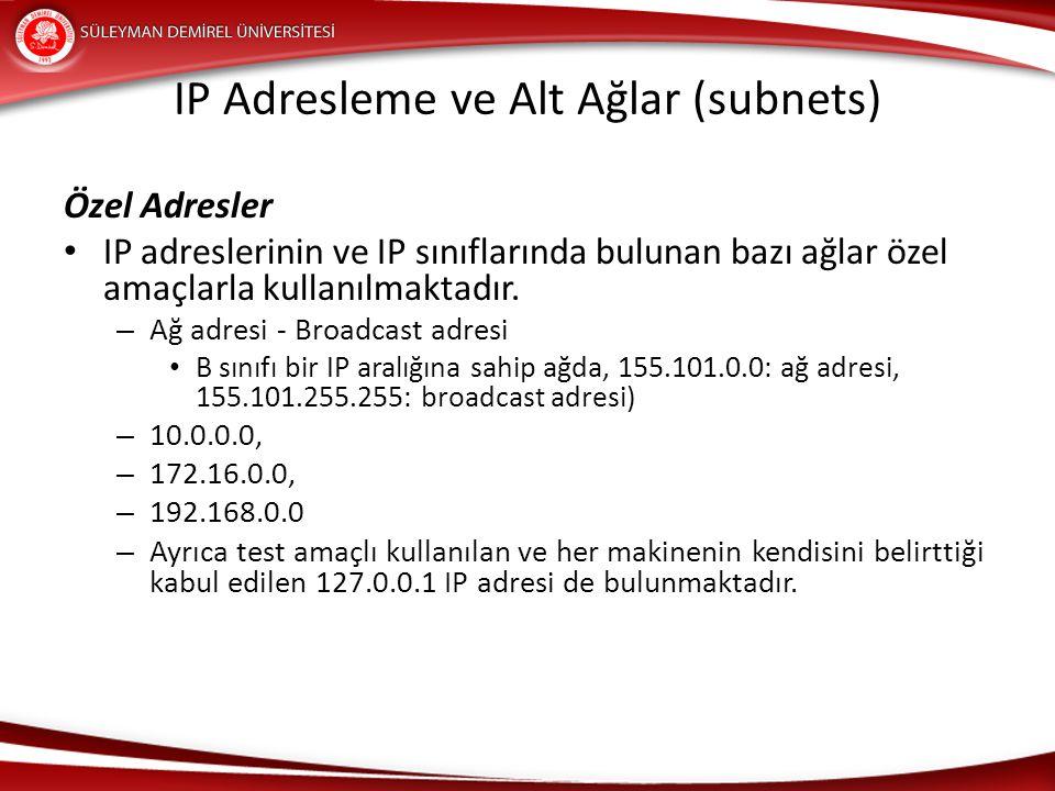 IP Adresleme ve Alt Ağlar (subnets) Özel Adresler IP adreslerinin ve IP sınıflarında bulunan bazı ağlar özel amaçlarla kullanılmaktadır. – Ağ adresi -