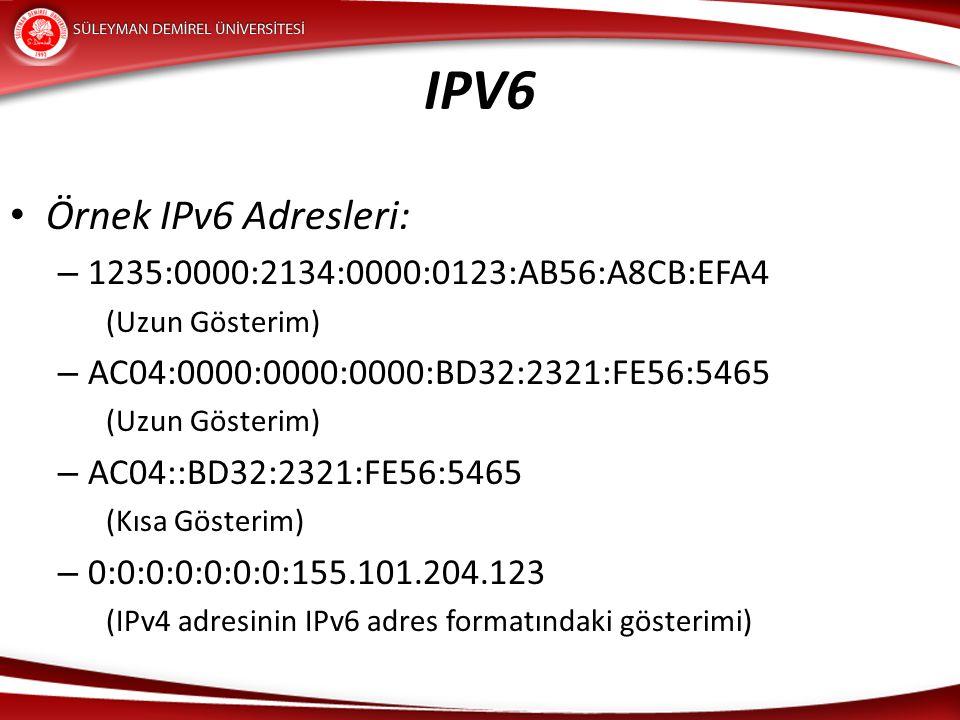 IPV6 Örnek IPv6 Adresleri: – 1235:0000:2134:0000:0123:AB56:A8CB:EFA4 (Uzun Gösterim) – AC04:0000:0000:0000:BD32:2321:FE56:5465 (Uzun Gösterim) – AC04: