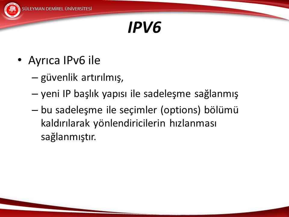 IPV6 Ayrıca IPv6 ile – güvenlik artırılmış, – yeni IP başlık yapısı ile sadeleşme sağlanmış – bu sadeleşme ile seçimler (options) bölümü kaldırılarak