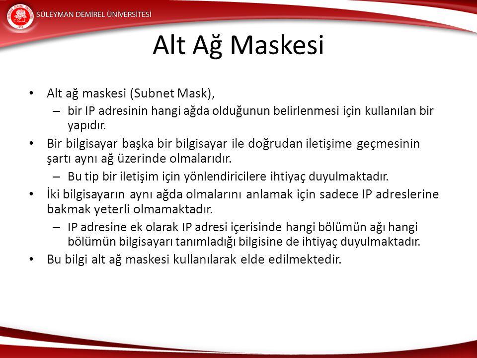 Alt Ağ Maskesi Alt ağ maskesi (Subnet Mask), – bir IP adresinin hangi ağda olduğunun belirlenmesi için kullanılan bir yapıdır. Bir bilgisayar başka bi
