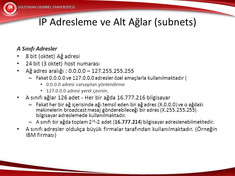 A Sınıfı Adresler 8 bit (oktet) Ağ adresi 24 bit (3 oktet) host numarası Ağ adres aralığı : 0.0.0.0 – 127.255.255.255 – Fakat 0.0.0.0 ve 127.0.0.0 adr