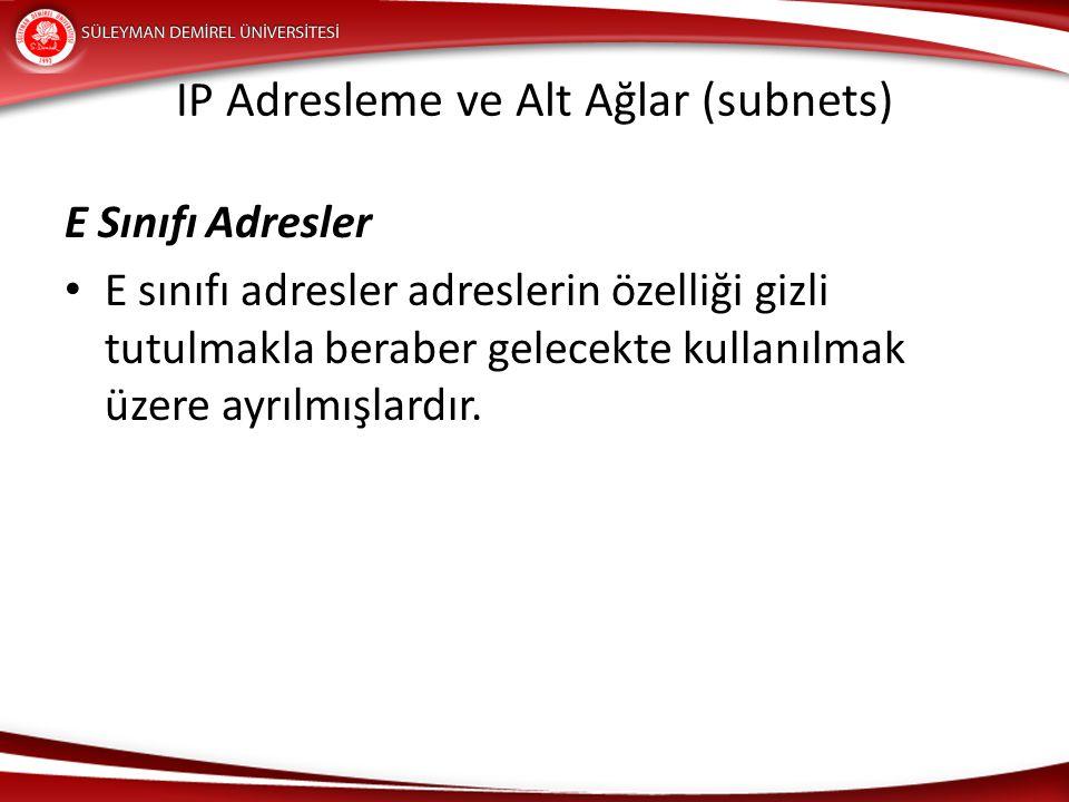 IP Adresleme ve Alt Ağlar (subnets) E Sınıfı Adresler E sınıfı adresler adreslerin özelliği gizli tutulmakla beraber gelecekte kullanılmak üzere ayrıl