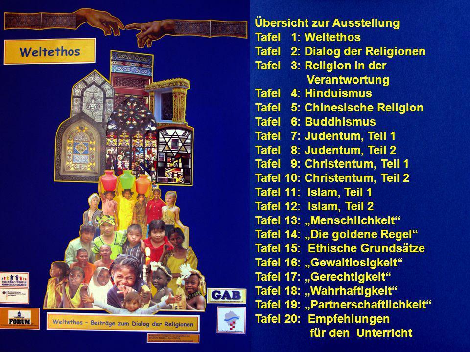 Übersicht zur Ausstellung Tafel 1: Weltethos Tafel 2: Dialog der Religionen Tafel 3: Religion in der Verantwortung Tafel 4: Hinduismus Tafel 5: Chines