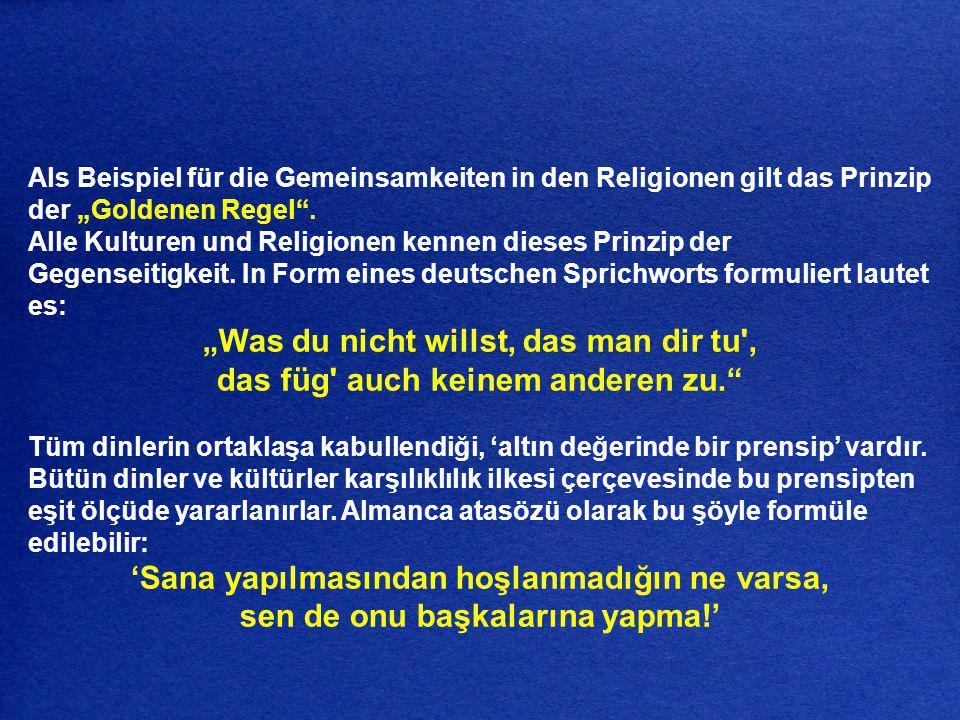 Das Projekt Weltethos führt folgende Beispiele zu den einzelnen Weltreligionen an: Dünya Yaşam Düsturu Projesi şu dinlerin öğretilerine dikkatinizi çekmek istiyor: Hinduismus: Man sollte sich gegenüber anderen nicht in einer Weise benehmen, die für einen selbst unangenehm ist; das ist das Wesen der Moral.