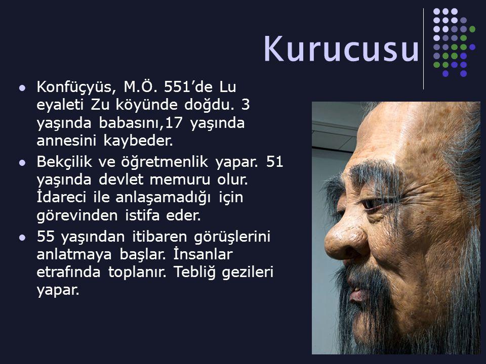 Kurucusu Konfüçyüs, M.Ö.551'de Lu eyaleti Zu köyünde doğdu.
