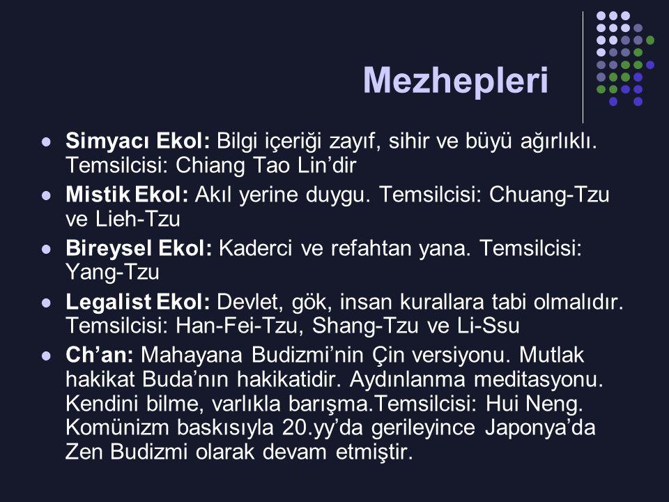 Simyacı Ekol: Bilgi içeriği zayıf, sihir ve büyü ağırlıklı. Temsilcisi: Chiang Tao Lin'dir Mistik Ekol: Akıl yerine duygu. Temsilcisi: Chuang-Tzu ve L
