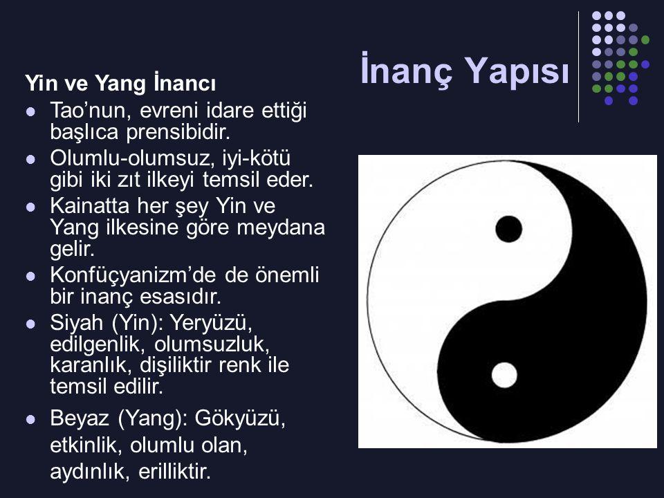 Yin ve Yang İnancı Tao'nun, evreni idare ettiği başlıca prensibidir. Olumlu-olumsuz, iyi-kötü gibi iki zıt ilkeyi temsil eder. Kainatta her şey Yin ve