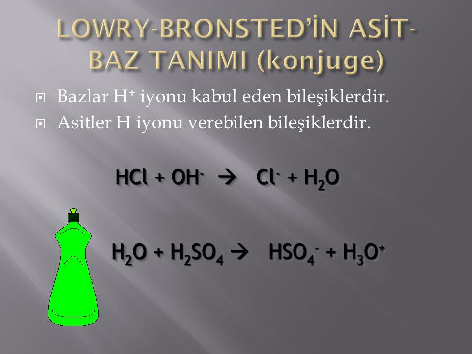  Bazlar H + iyonu kabul eden bileşiklerdir.  Asitler H iyonu verebilen bileşiklerdir. HCl + OH -  Cl - + H 2 O H 2 O + H 2 SO 4  HSO 4 - + H 3 O +