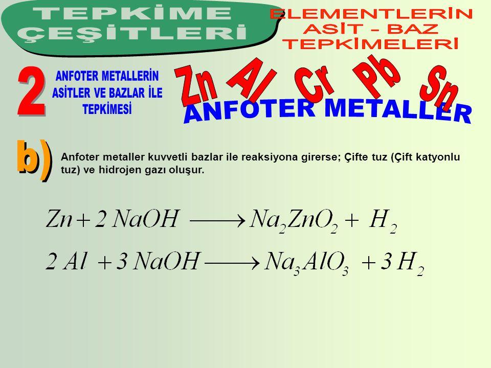 Anfoter metaller kuvvetli bazlar ile reaksiyona girerse; Çifte tuz (Çift katyonlu tuz) ve hidrojen gazı oluşur.