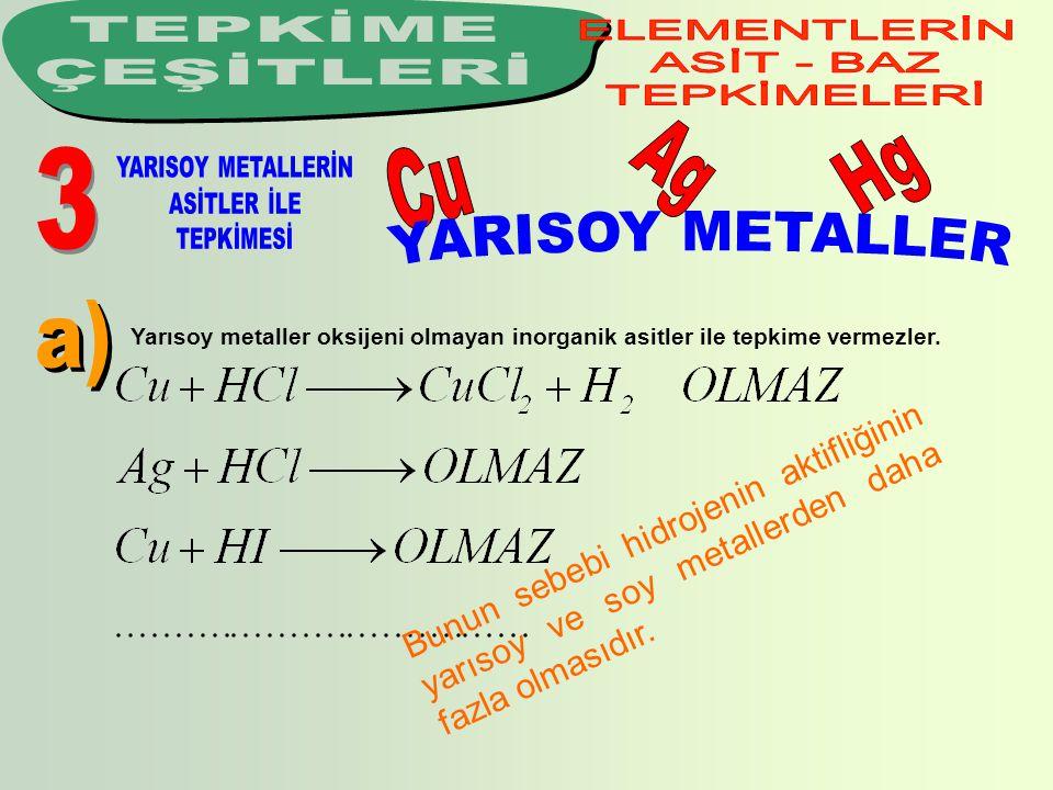 Yarısoy metaller oksijeni olmayan inorganik asitler ile tepkime vermezler. B u n u n s e b e b i h i d r o j e n i n a k t i f l i ğ i n i n y a r ı s