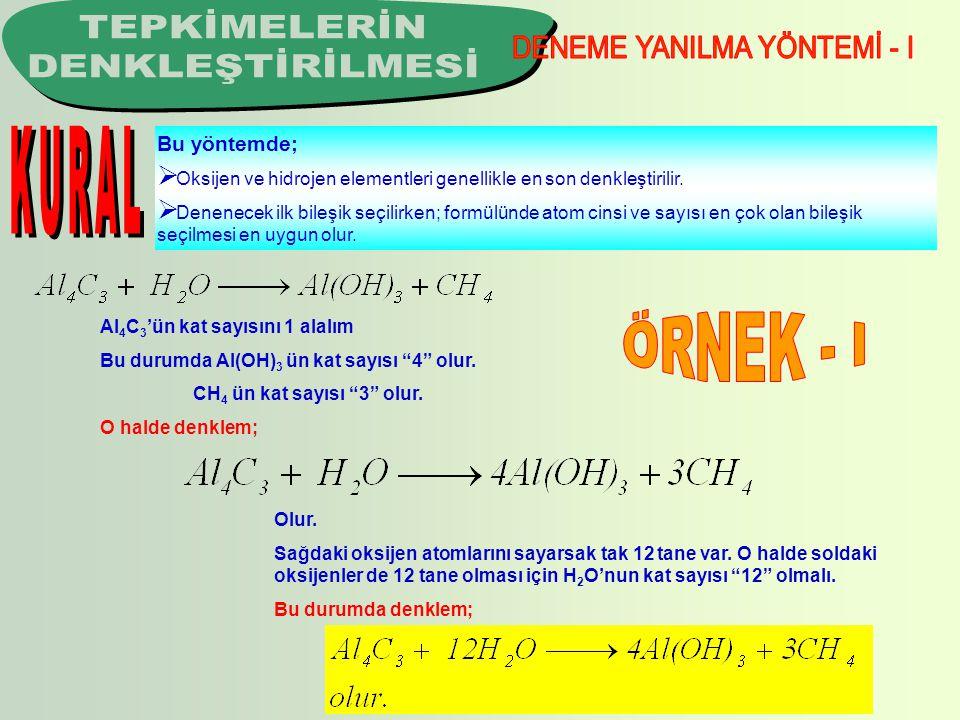 Bu yöntemde;  Oksijen ve hidrojen elementleri genellikle en son denkleştirilir.  Denenecek ilk bileşik seçilirken; formülünde atom cinsi ve sayısı e