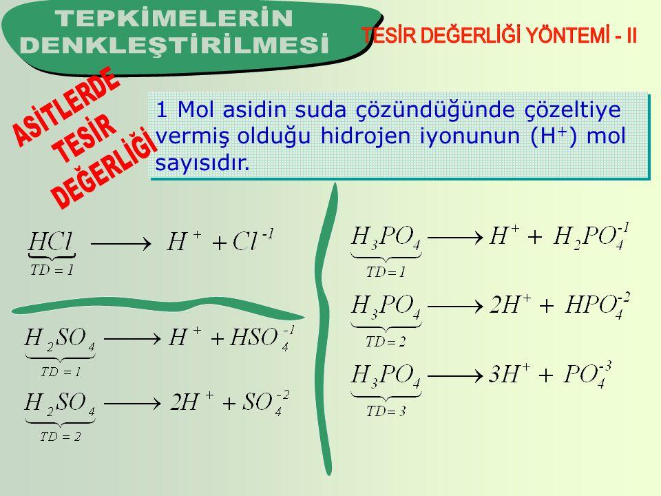 1 Mol asidin suda çözündüğünde çözeltiye vermiş olduğu hidrojen iyonunun (H + ) mol sayısıdır.