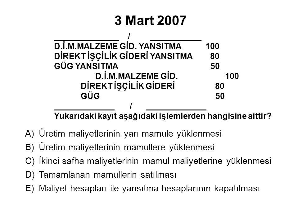 3 Mart 2007 ______________ / ___________ D.İ.M.MALZEME GİD.
