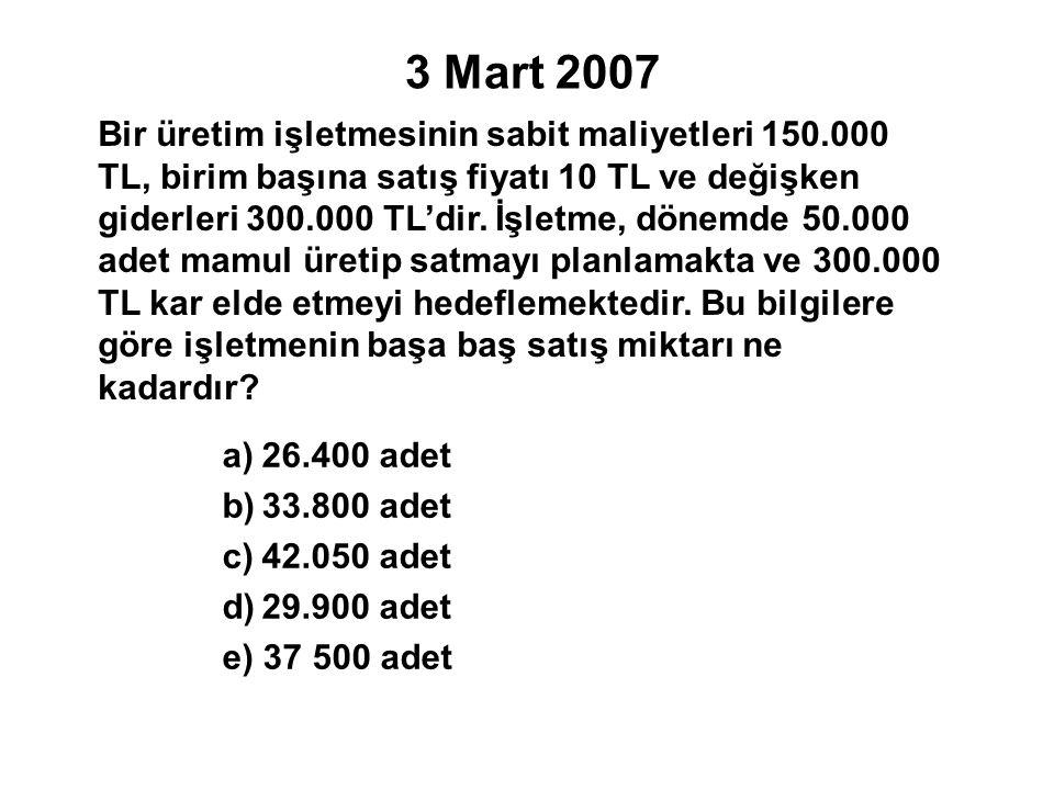 3 Mart 2007 Bir üretim işletmesinin sabit maliyetleri 150.000 TL, birim başına satış fiyatı 10 TL ve değişken giderleri 300.000 TL'dir.