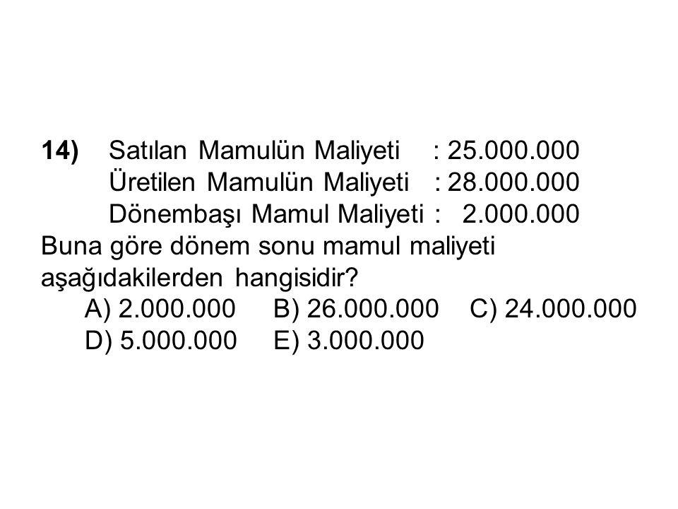 14) Satılan Mamulün Maliyeti :25.000.000 Üretilen Mamulün Maliyeti :28.000.000 Dönembaşı Mamul Maliyeti : 2.000.000 Buna göre dönem sonu mamul maliyeti aşağıdakilerden hangisidir.