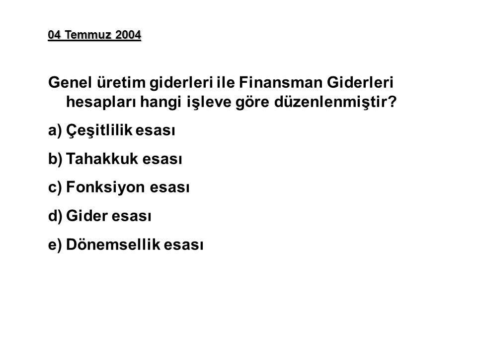 04 Temmuz 2004 Genel üretim giderleri ile Finansman Giderleri hesapları hangi işleve göre düzenlenmiştir.