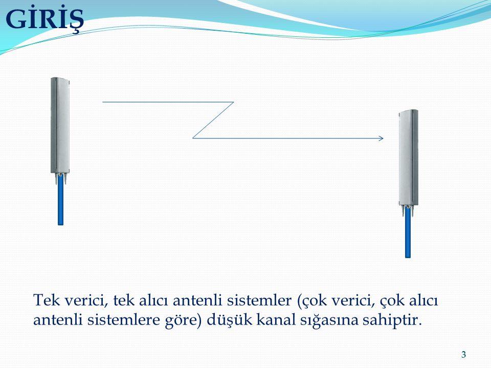 GİRİŞ 3 Tek verici, tek alıcı antenli sistemler (çok verici, çok alıcı antenli sistemlere göre) düşük kanal sığasına sahiptir.