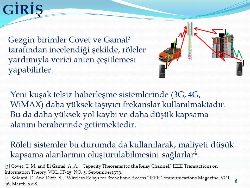 GİRİŞ 6 Gezgin birimler Covet ve Gamal 3 tarafından incelendiği şekilde, röleler yardımıyla verici anten çeşitlemesi yapabilirler. Yeni kuşak telsiz h