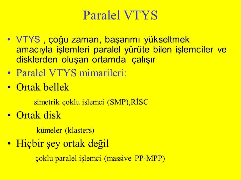 Paralel VTYS VTYS, çoğu zaman, başarımı yükseltmek amacıyla işlemleri paralel yürüte bilen işlemciler ve disklerden oluşan ortamda çalışır Paralel VTY