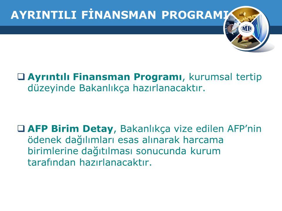 AYRINTILI FİNANSMAN PROGRAMI  Ayrıntılı Finansman Programı, kurumsal tertip düzeyinde Bakanlıkça hazırlanacaktır.