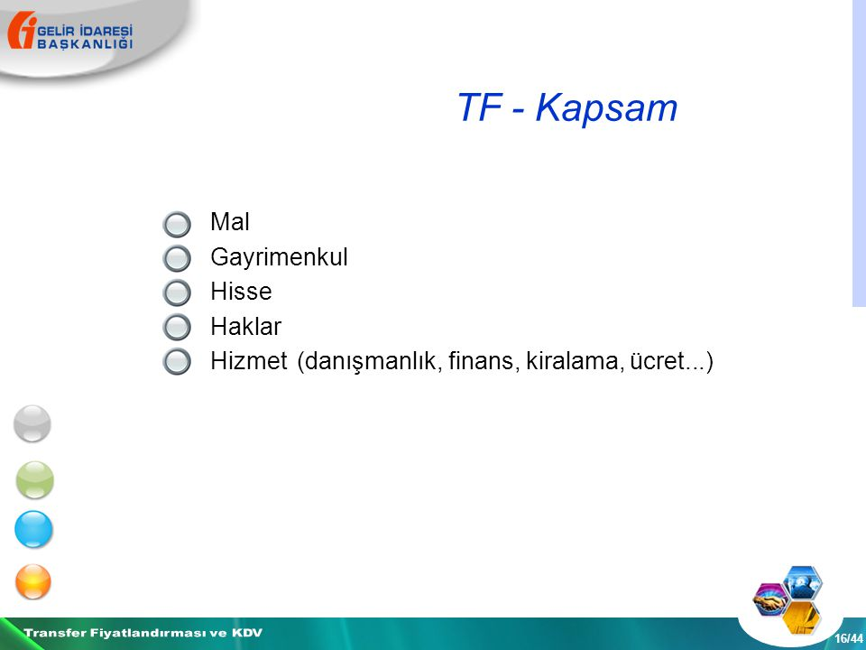 TF - Kapsam 16/44 Mal Gayrimenkul Hisse Haklar Hizmet (danışmanlık, finans, kiralama, ücret...)