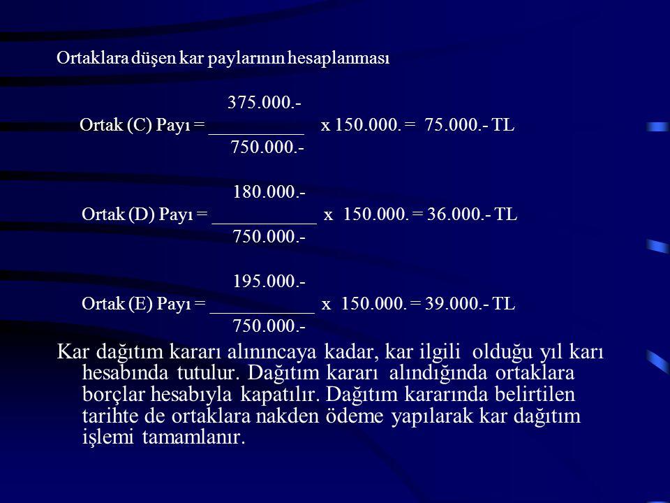 ÖRNEK Karın Ortaklar arasında sermaye paylarıyla orantılı dağıtılması(C) ve Ortakları Ticaret Kollektif Şirketinin 2005 yılı karı 150.000.-TL olup, şi