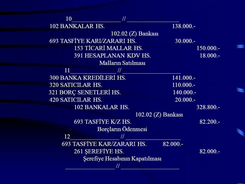 6_______________ // __________________ 102 BANKALAR HS.18.000.- 102.02 (Z) Bankası 693 TASFİYE KARI / ZARARI HS. 6.000.- 128 ŞÜP.TİCARİ ALACAKLAR 24.0