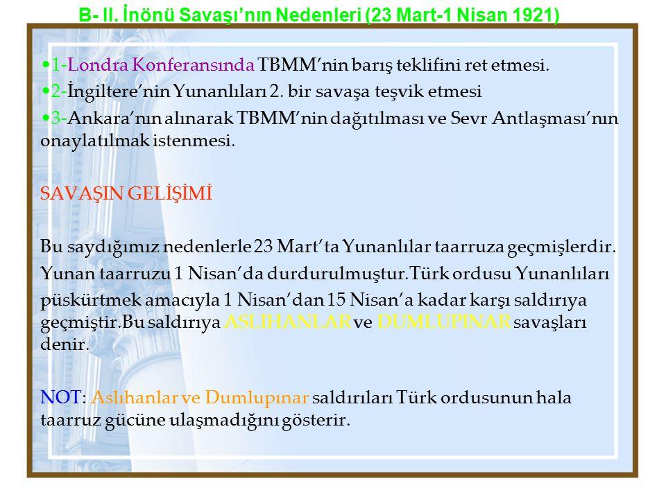 1-Londra Konferansında TBMM'nin barış teklifini ret etmesi. 2-İngiltere'nin Yunanlıları 2. bir savaşa teşvik etmesi 3-Ankara'nın alınarak TBMM'nin dağ